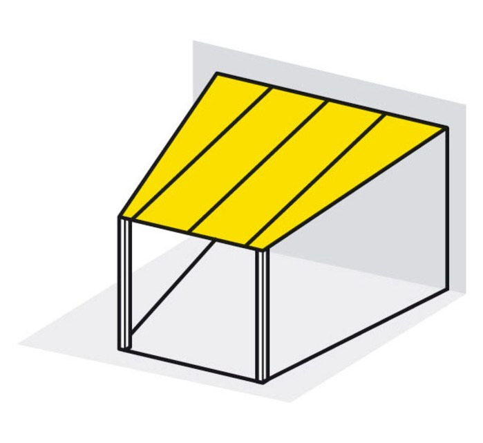 Trapezium-shaped roof sloping to eaves