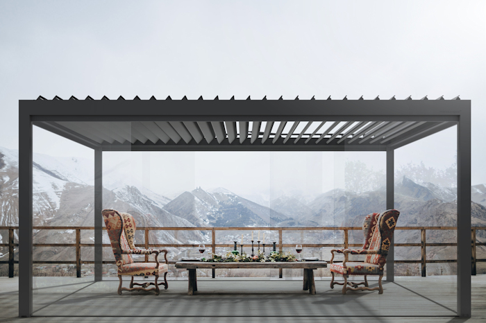 Milwood Pergola Agava with glass panels.