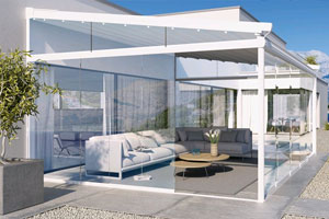 PergoTex modular System with optional glass sliding doors